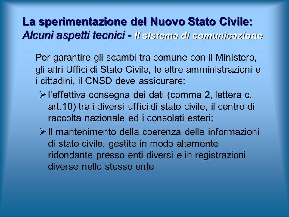 Per garantire gli scambi tra comune con il Ministero, gli altri Uffici di Stato Civile, le altre amministrazioni e i cittadini, il CNSD deve assicurar