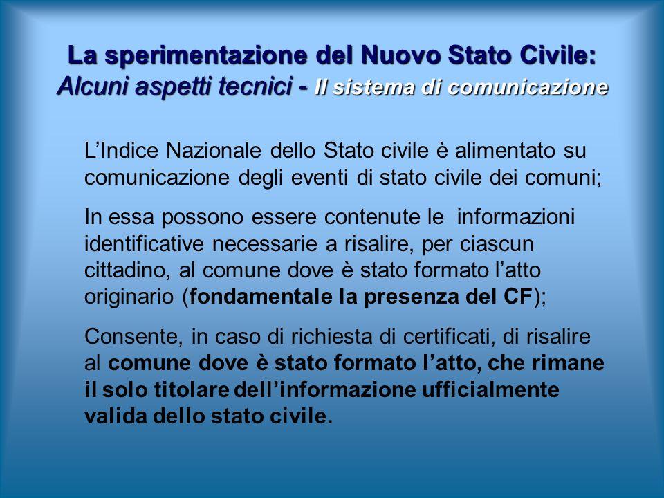 LIndice Nazionale dello Stato civile è alimentato su comunicazione degli eventi di stato civile dei comuni; In essa possono essere contenute le inform