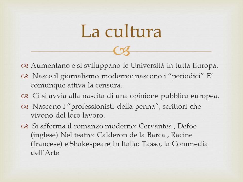 Aumentano e si sviluppano le Università in tutta Europa. Nasce il giornalismo moderno: nascono i periodici E comunque attiva la censura. Ci si avvia a