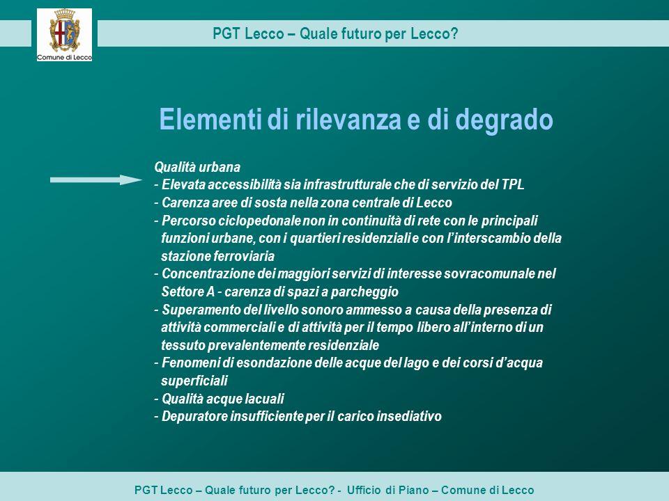 PGT Lecco – Quale futuro per Lecco? PGT Lecco – Quale futuro per Lecco? - Ufficio di Piano – Comune di Lecco Elementi di rilevanza e di degrado Qualit