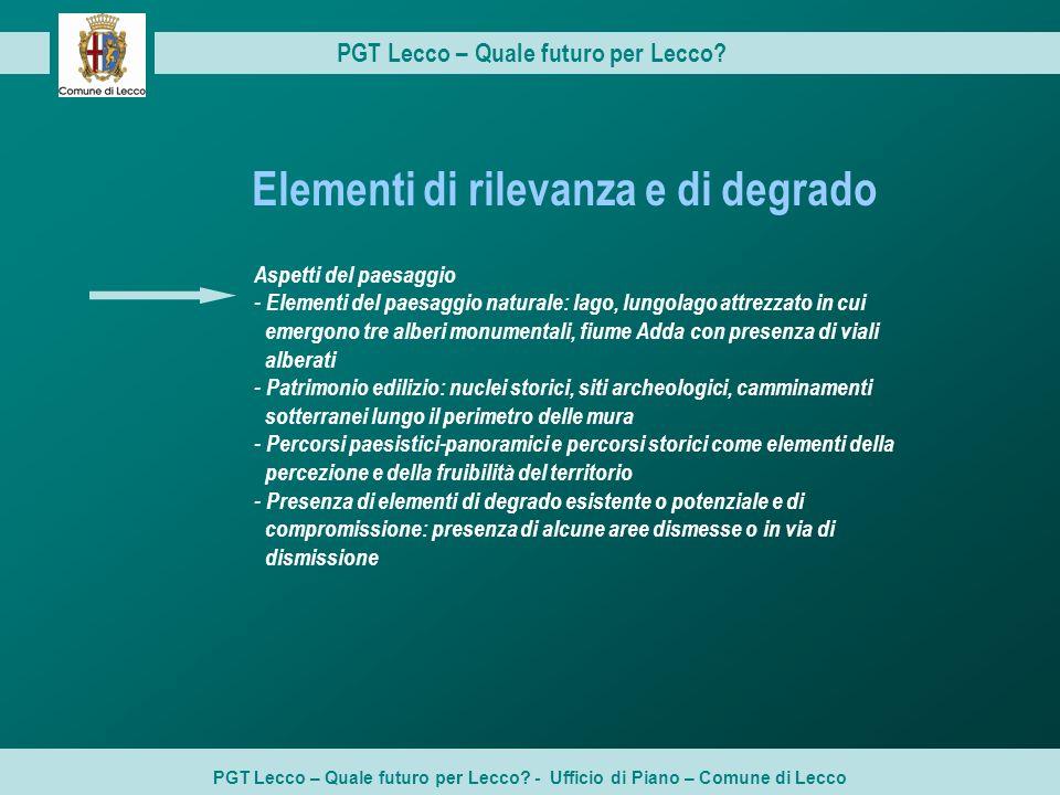 PGT Lecco – Quale futuro per Lecco? PGT Lecco – Quale futuro per Lecco? - Ufficio di Piano – Comune di Lecco Aspetti del paesaggio - Elementi del paes