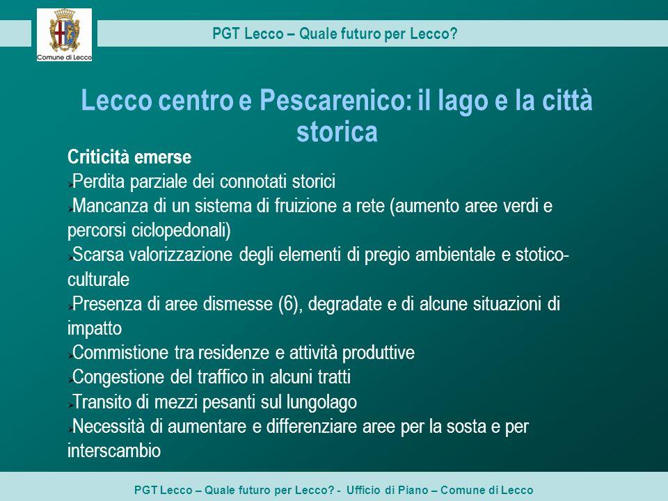 Lecco centro e Pescarenico: il lago e la città storica Criticità emerse Perdita parziale dei connotati storici Mancanza di un sistema di fruizione a r