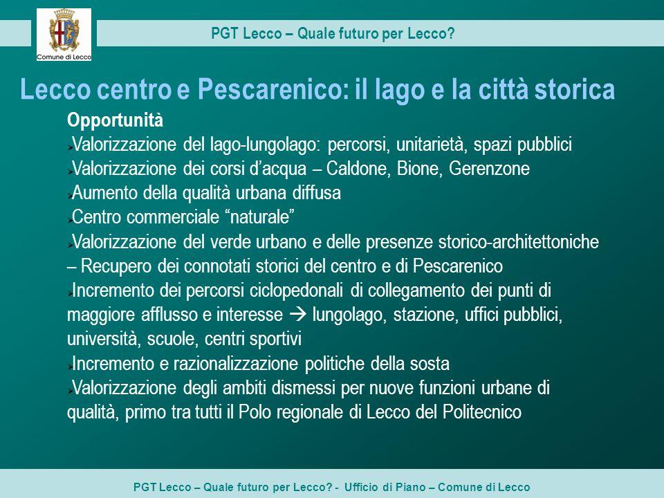 Lecco centro e Pescarenico: il lago e la città storica Opportunità Valorizzazione del lago-lungolago: percorsi, unitarietà, spazi pubblici Valorizzazi