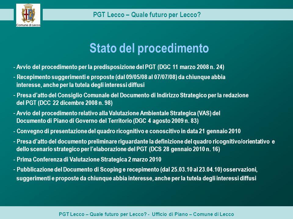 PGT Lecco – Quale futuro per Lecco? - Ufficio di Piano – Comune di Lecco PGT Lecco – Quale futuro per Lecco? - Avvio del procedimento per la predispos