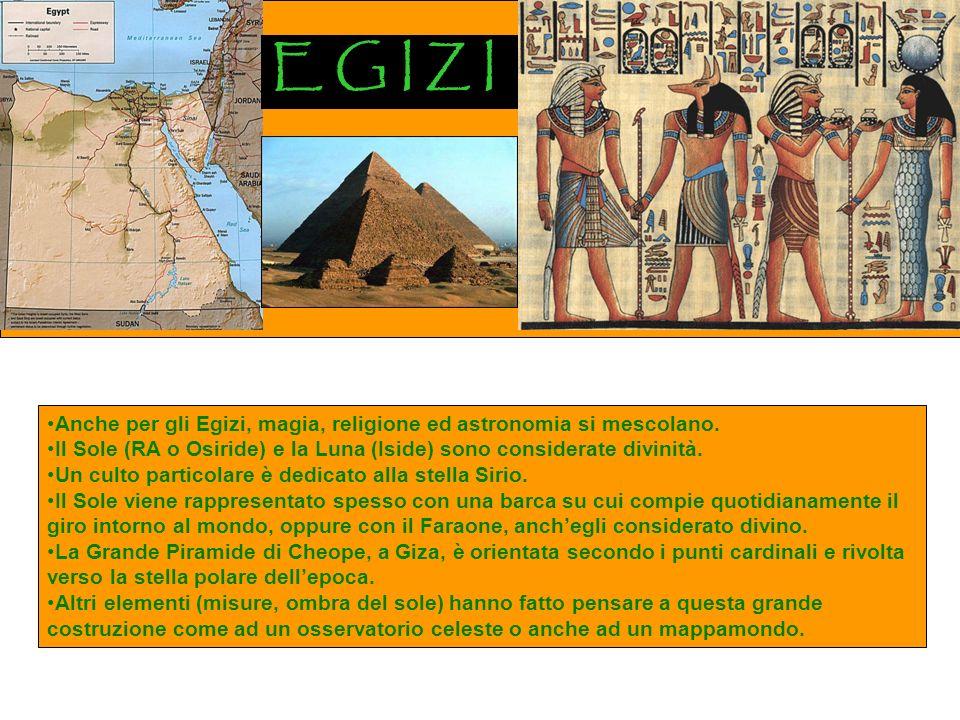 E G I Z I Anche per gli Egizi, magia, religione ed astronomia si mescolano.