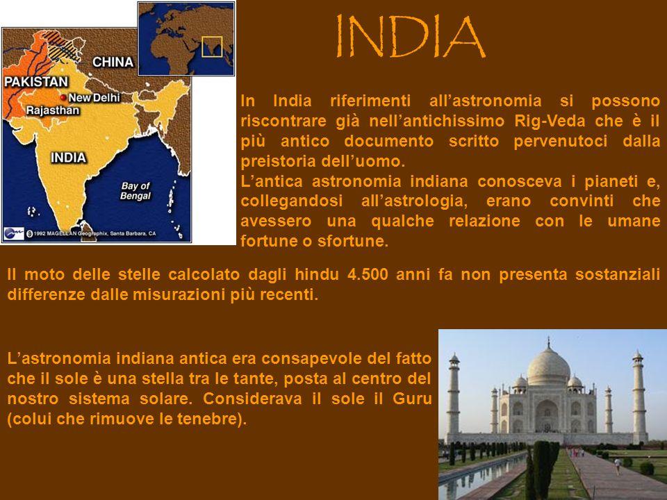 INDIA In India riferimenti allastronomia si possono riscontrare già nellantichissimo Rig-Veda che è il più antico documento scritto pervenutoci dalla preistoria delluomo.