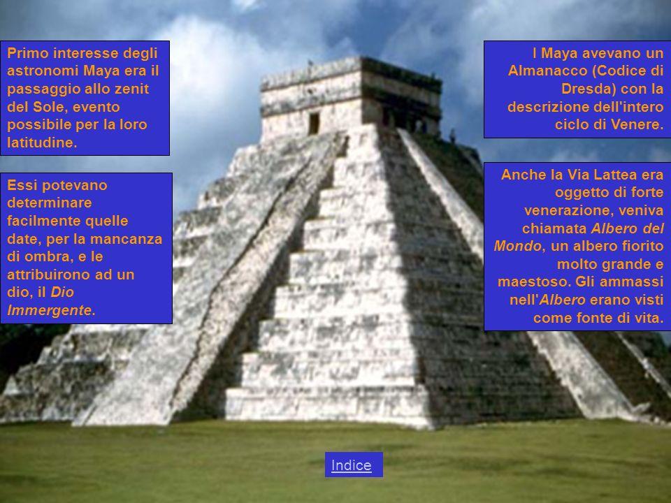 Primo interesse degli astronomi Maya era il passaggio allo zenit del Sole, evento possibile per la loro latitudine.
