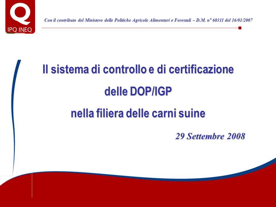 Il sistema di controllo e di certificazione delle DOP/IGP nella filiera delle carni suine 29 Settembre 2008 29 Settembre 2008 Con il contributo del Mi