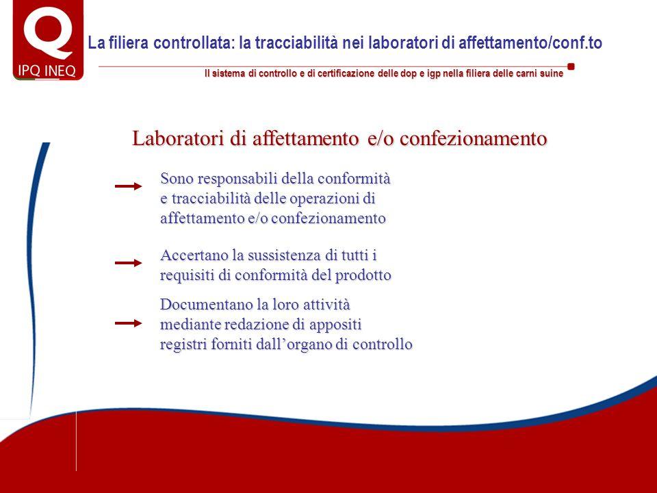 Il sistema di controllo e di certificazione delle dop e igp nella filiera delle carni suine Laboratori di affettamento e/o confezionamento Documentano