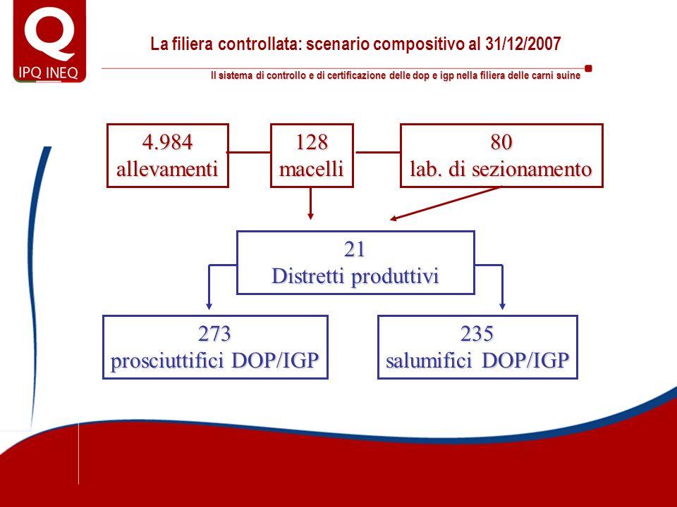 Il sistema di controllo e di certificazione delle dop e igp nella filiera delle carni suine La filiera controllata: scenario compositivo al 31/12/2007