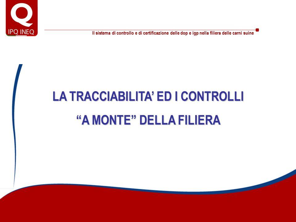 Il sistema di controllo e di certificazione delle dop e igp nella filiera delle carni suine La filiera controllata: le cifre dei piani di controllo a monte della filiera Le cifre dei piani nel 2007 226.145Cosce regolarizzate 2.381.029Cosce suine fresche controllate nei distretti DOP 6.617Campioni analizzati - piano grasso (2004/2007) 734Formulazioni controllate per alimenti in uso 2.200Allevamenti controllati 254Sessioni di controllo c/o macelli e laboratori di sez.to 255.340Cosce suine fresche non conformi nei distretti DOP 15.556.616Cosce suine fresche consegnate nei distretti DOP