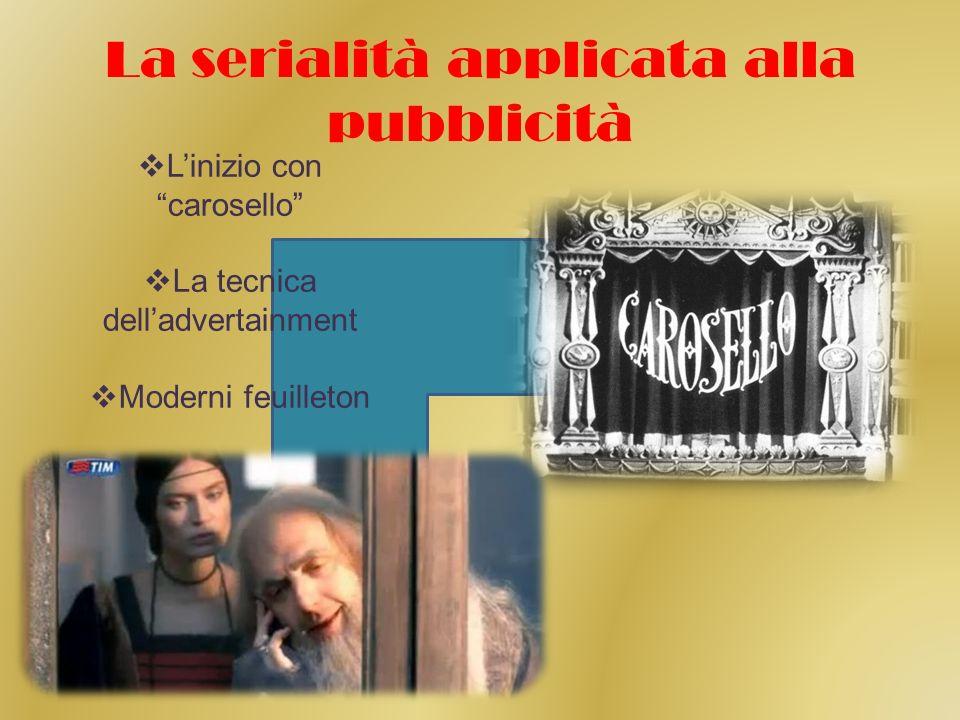 La serialità applicata alla pubblicità Linizio con carosello La tecnica delladvertainment Moderni feuilleton