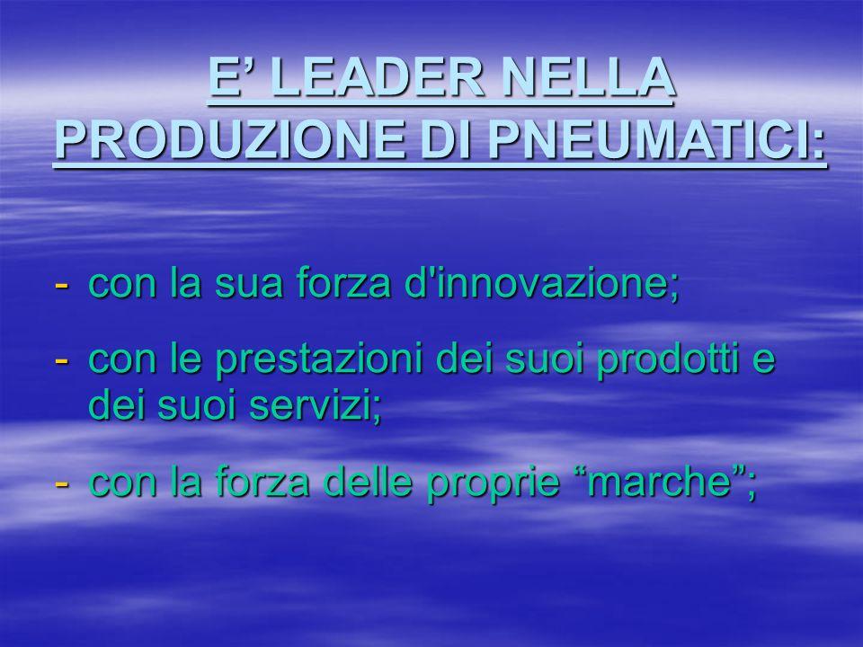 -con la sua forza d'innovazione; -con le prestazioni dei suoi prodotti e dei suoi servizi; -con la forza delle proprie marche; E LEADER NELLA PRODUZIO