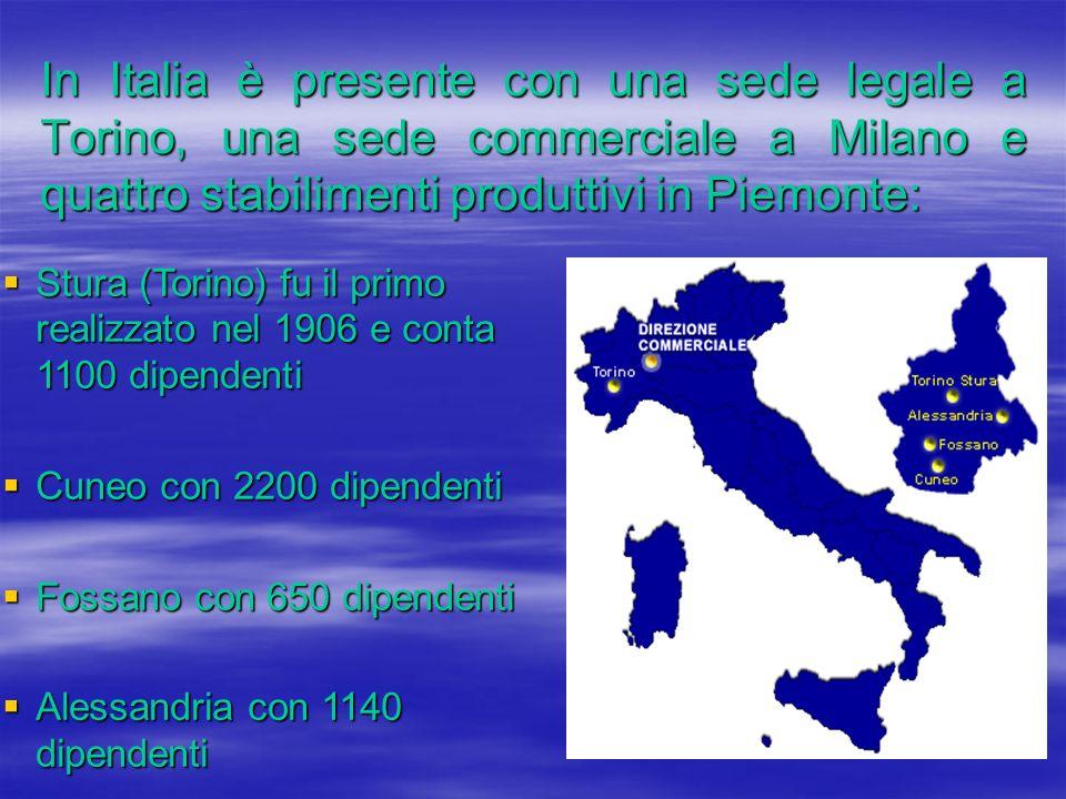 In Italia è presente con una sede legale a Torino, una sede commerciale a Milano e quattro stabilimenti produttivi in Piemonte: Stura (Torino) fu il p