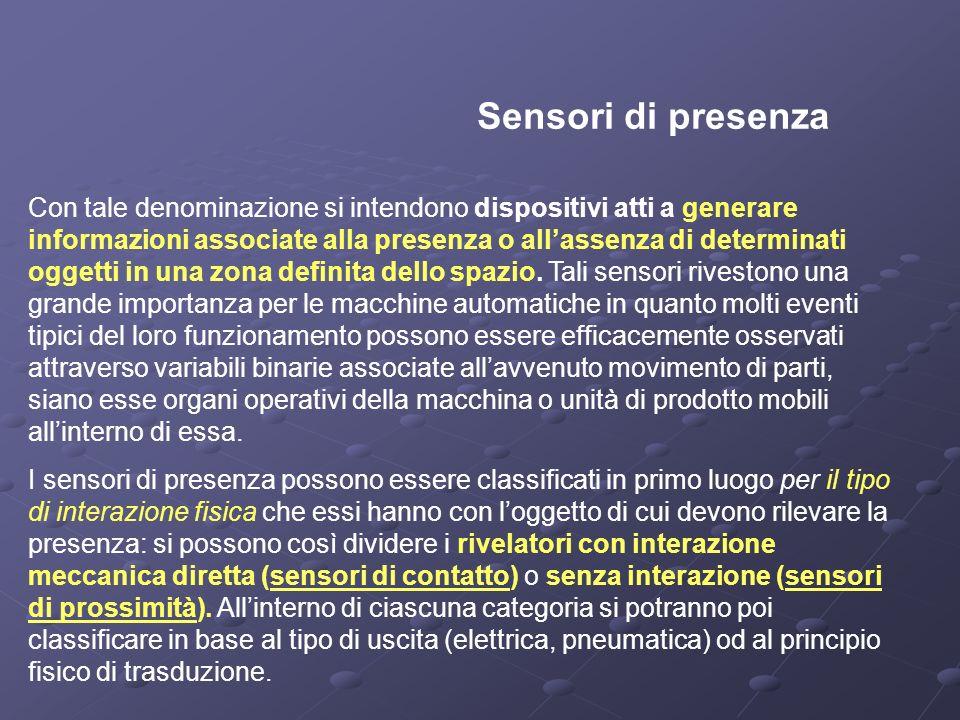 Sensori di presenza Con tale denominazione si intendono dispositivi atti a generare informazioni associate alla presenza o allassenza di determinati o
