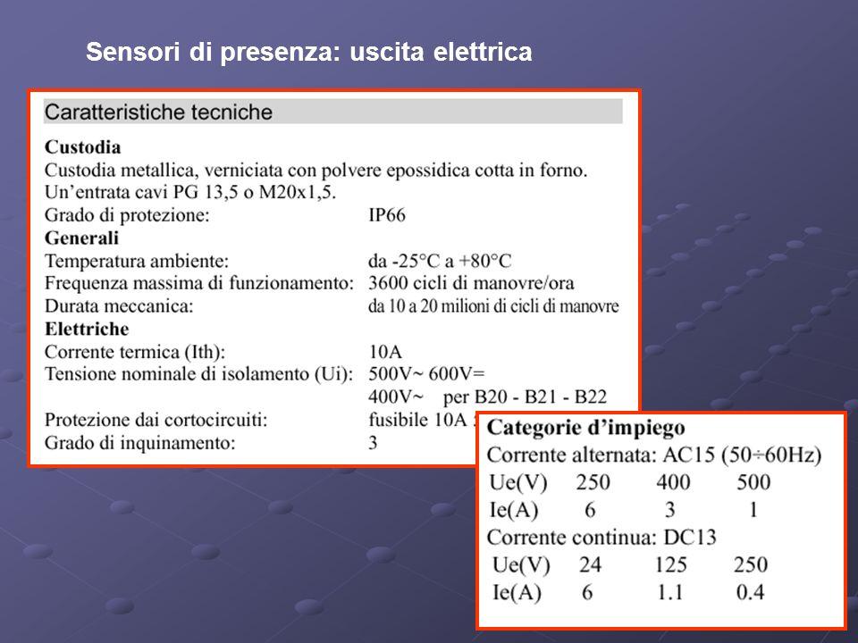 Sensori di presenza: uscita elettrica