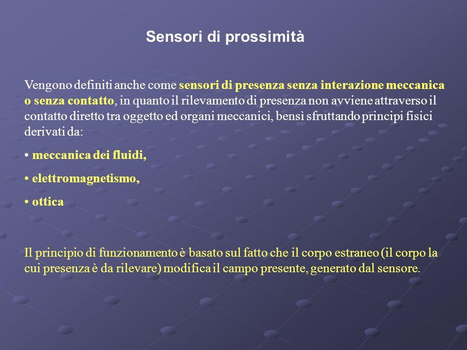 Sensori di prossimità Vengono definiti anche come sensori di presenza senza interazione meccanica o senza contatto, in quanto il rilevamento di presen