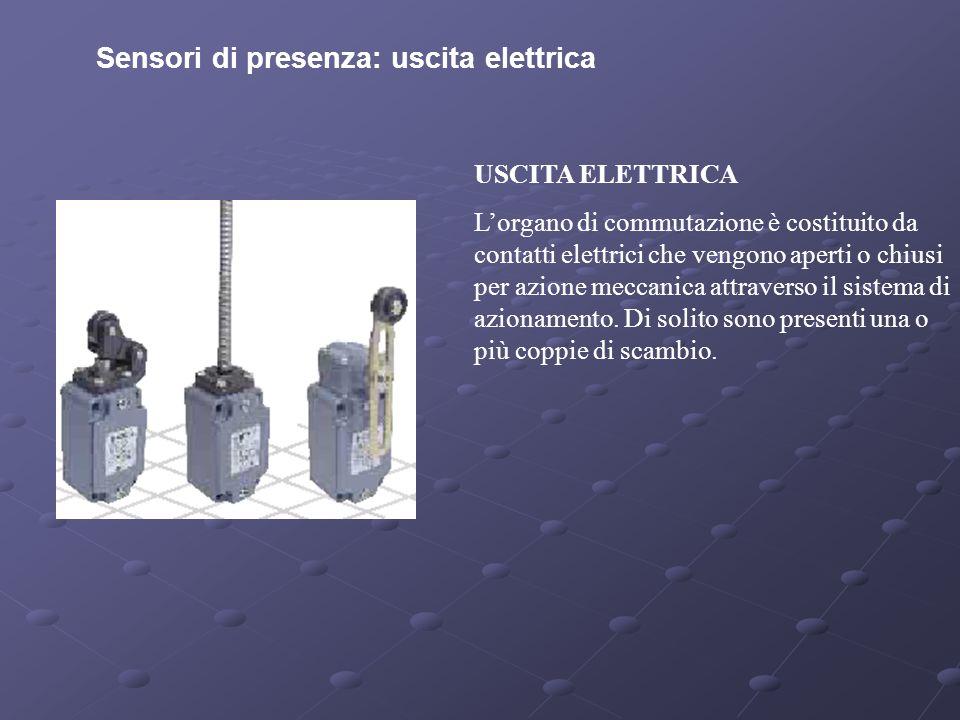Sensori di presenza: uscita elettrica USCITA ELETTRICA Lorgano di commutazione è costituito da contatti elettrici che vengono aperti o chiusi per azio
