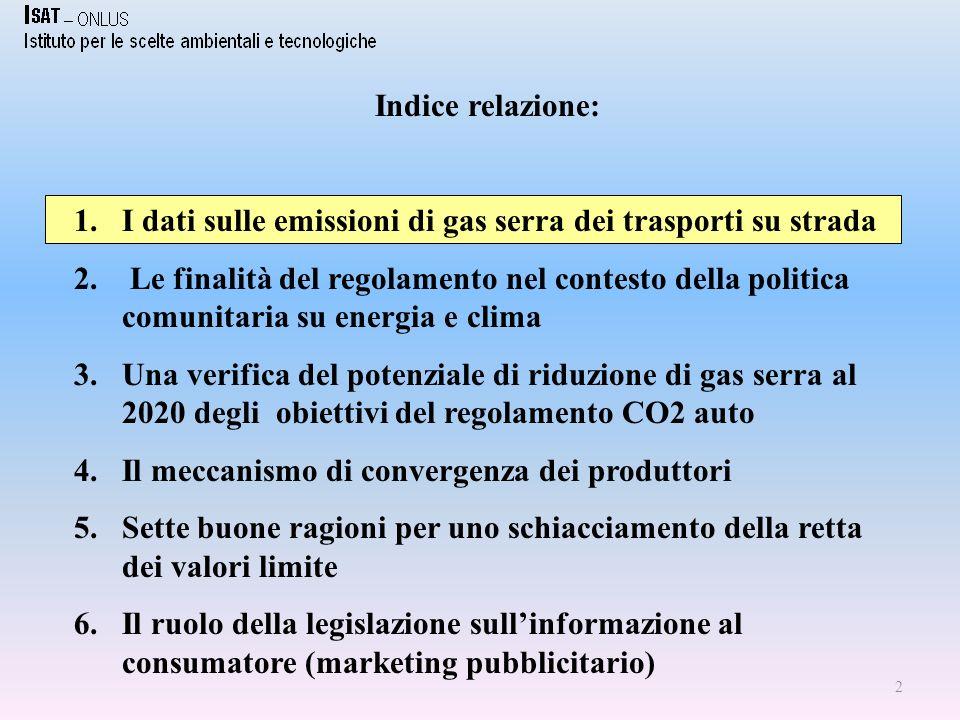 2 Indice relazione: 1.I dati sulle emissioni di gas serra dei trasporti su strada 2.