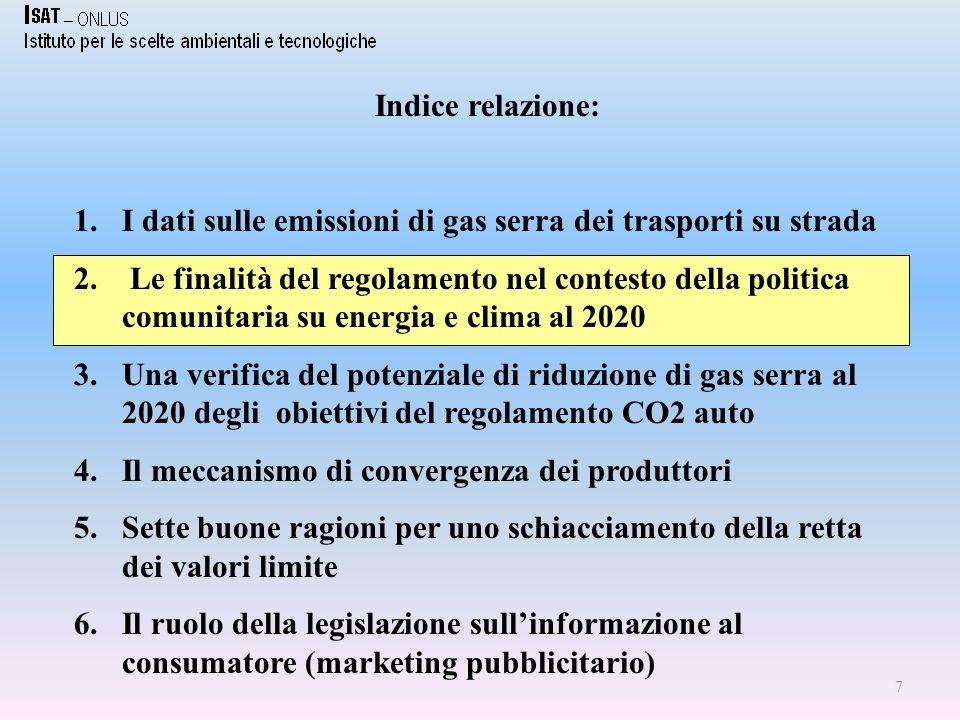 Il pacchetto energia proposto dalla Commissione UE il 23 gennaio 2008: gli obiettivi quantitativi 1.Settori ETS: -21% delle emissioni al 2020 rispetto al 2005 e accentramento a livello comunitario del meccanismo di fissazione dei permessi di emissione 2.Settori non ETS (trasporti, agricoltura, rifiuti): ripartizione differenziata fra Stati Membri equivalente al - 10% delle emissioni al 2020 rispetto al 2005 (Italia –13%) 3.Fonti rinnovabili: 20% al 2020 sui consumi finali di energia (Italia 17%).