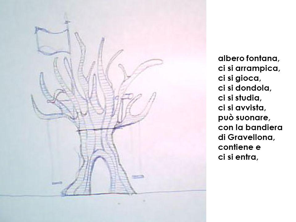 albero fontana, ci si arrampica, ci si gioca, ci si dondola, ci si studia, ci si avvista, può suonare, con la bandiera di Gravellona, contiene e ci si entra,