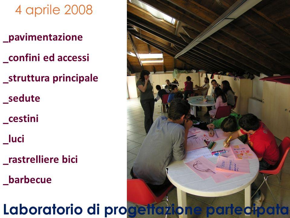 4 aprile 2008 Laboratorio di progettazione partecipata _pavimentazione _confini ed accessi _struttura principale _sedute _cestini _luci _rastrelliere bici _barbecue