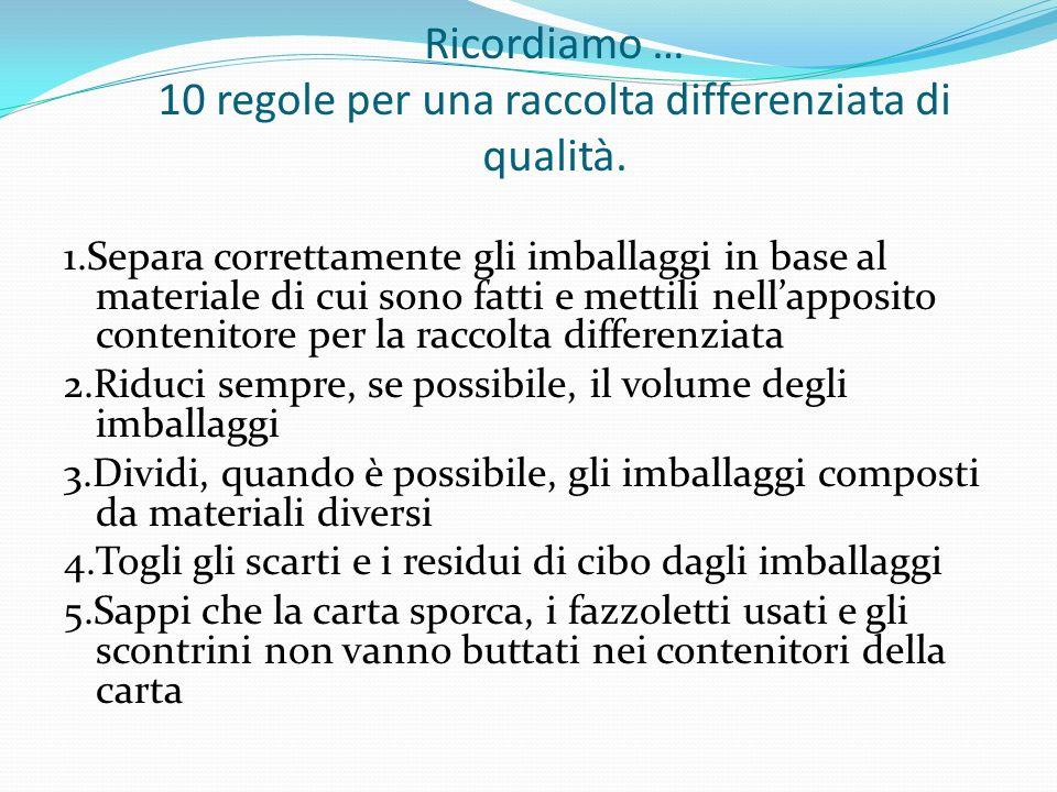 Ricordiamo … 10 regole per una raccolta differenziata di qualità. 1.Separa correttamente gli imballaggi in base al materiale di cui sono fatti e metti