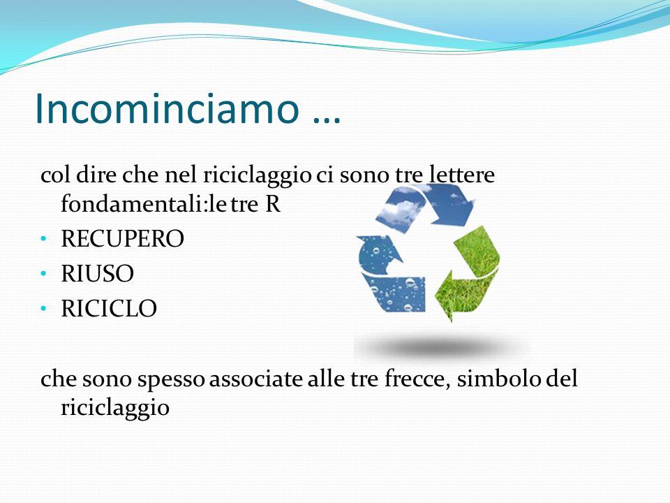 Incominciamo … col dire che nel riciclaggio ci sono tre lettere fondamentali:le tre R RECUPERO RIUSO RICICLO che sono spesso associate alle tre frecce