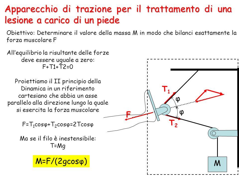 17 Apparecchio di trazione per il trattamento di una lesione a carico di un piede Allequilibrio la risultante delle forze deve essere uguale a zero: F+T1+T2=0 Proiettiamo il II principio della Dinamica in un riferimento cartesiano che abbia un asse parallelo alla direzione lungo la quale si esercita la forza muscolare F=T 1 cosφ+T 2 cosφ=2Tcosφ Ma se il filo è inestensibile: T=Mg M=F/(2gcosφ) F T1T1 T2T2 M φ φ Obiettivo: Determinare il valore della massa M in modo che bilanci esattamente la forza muscolare F