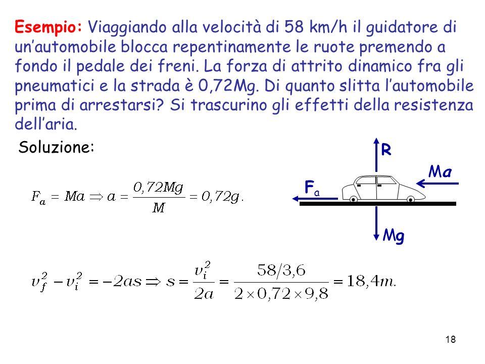 18 Soluzione:.. MgMg R MaMa FaFa Esempio: Viaggiando alla velocità di 58 km/h il guidatore di unautomobile blocca repentinamente le ruote premendo a f