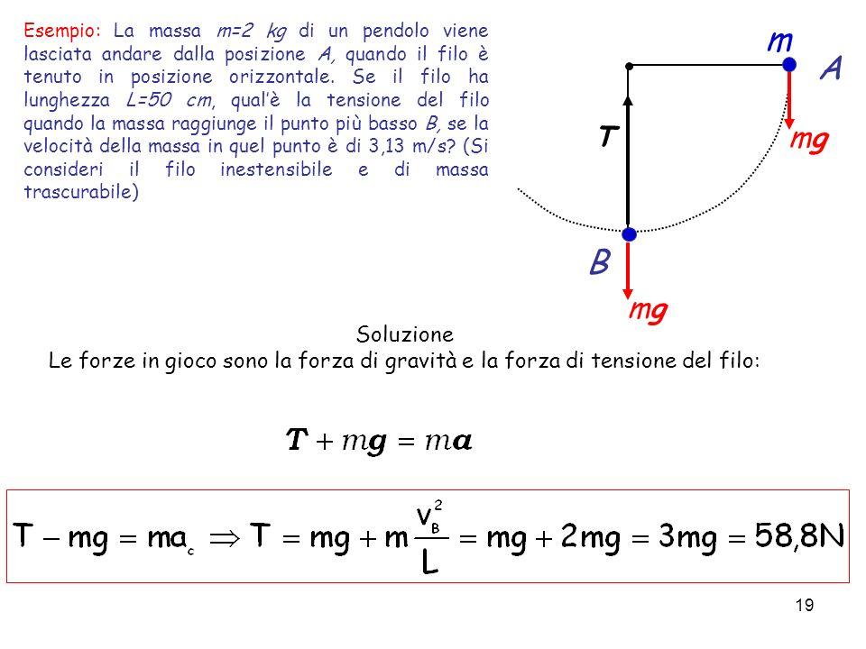 19 Esempio: La massa m=2 kg di un pendolo viene lasciata andare dalla posizione A, quando il filo è tenuto in posizione orizzontale. Se il filo ha lun
