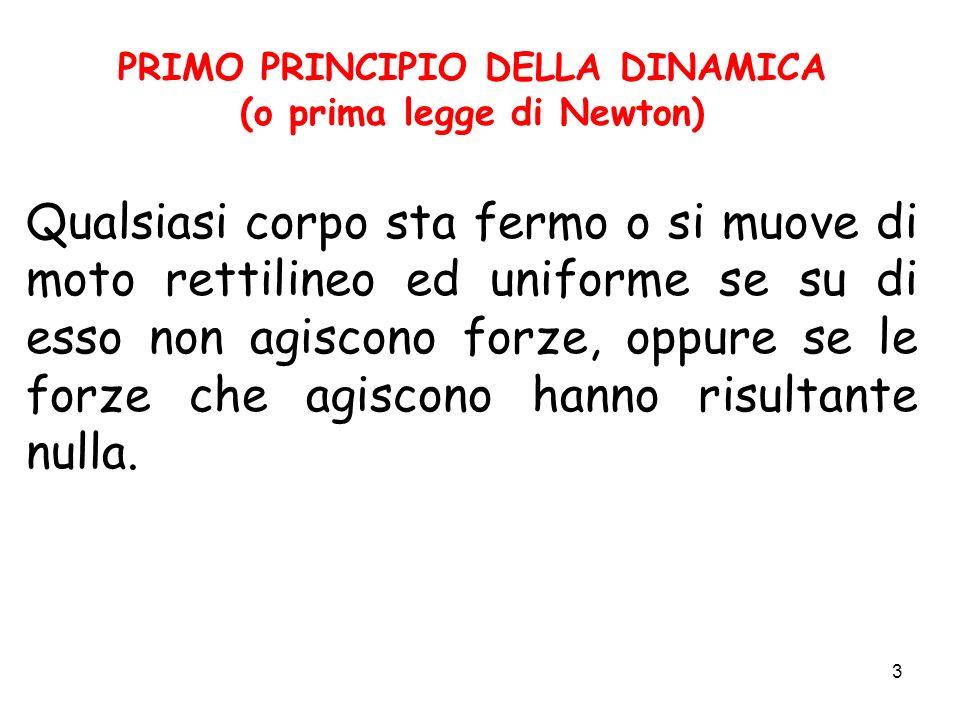 3 PRIMO PRINCIPIO DELLA DINAMICA (o prima legge di Newton) Qualsiasi corpo sta fermo o si muove di moto rettilineo ed uniforme se su di esso non agisc
