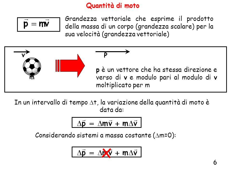 6 Quantità di moto Grandezza vettoriale che esprime il prodotto della massa di un corpo (grandezza scalare) per la sua velocità (grandezza vettoriale) In un intervallo di tempo t, la variazione della quantità di moto è data da: Considerando sistemi a massa costante ( m=0): P p è un vettore che ha stessa direzione e verso di v e modulo pari al modulo di v moltiplicato per m v m x