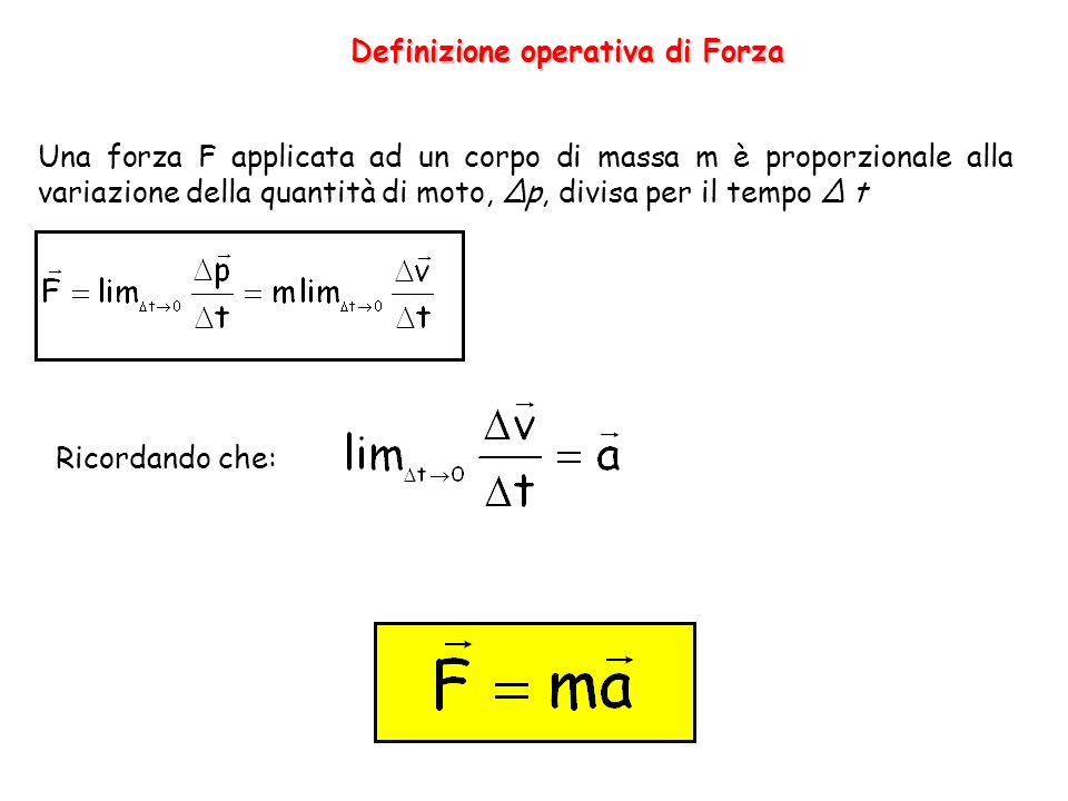 Definizione operativa di Forza Una forza F applicata ad un corpo di massa m è proporzionale alla variazione della quantità di moto, Δp, divisa per il tempo Δ t Ricordando che: