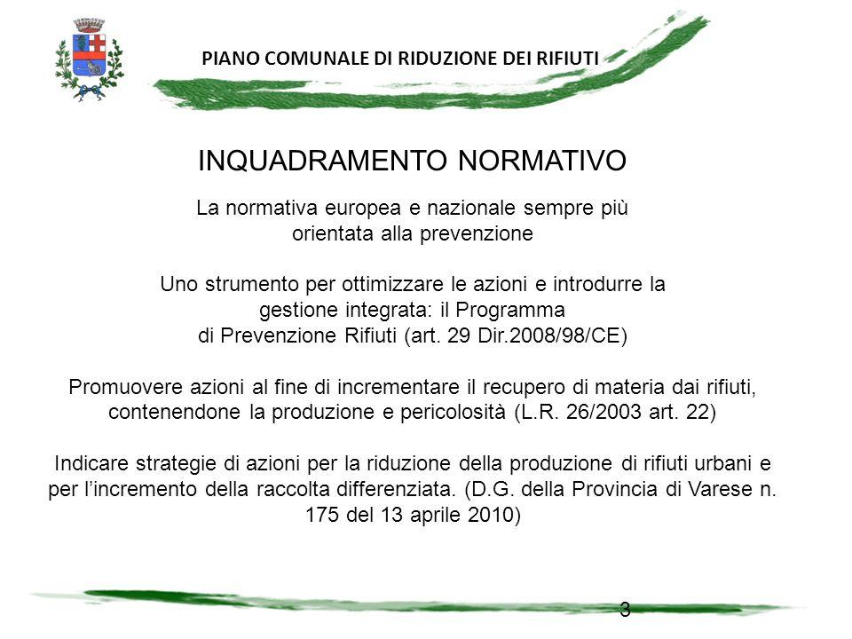 PIANO COMUNALE DI RIDUZIONE DEI RIFIUTI PROGRAMMA DI PREVENZIONE DEI RIFIUTI ANCHE A LIVELLO COMUNALE.
