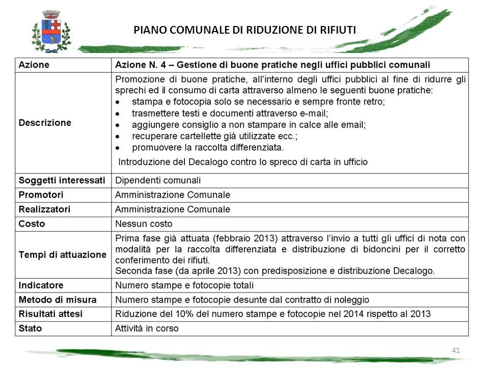 PIANO COMUNALE DI RIDUZIONE DI RIFIUTI 41