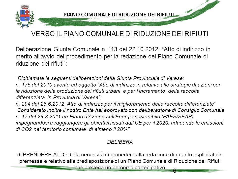 PIANO COMUNALE DI RIDUZIONE DI RIFIUTI 47
