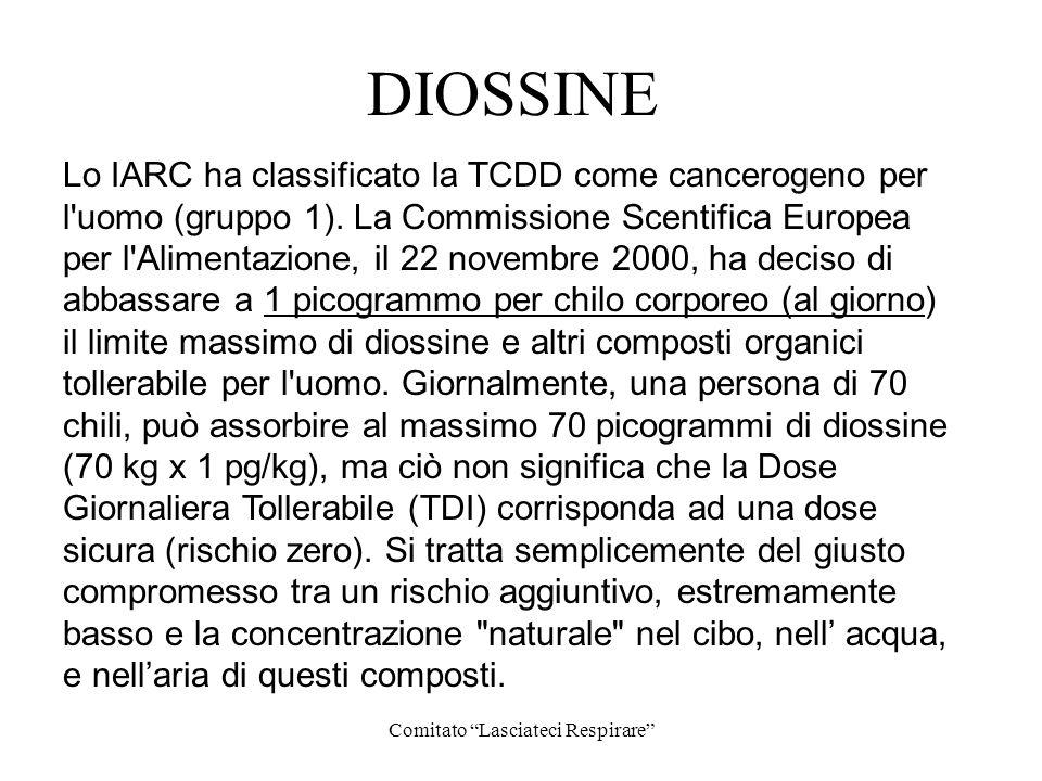 Comitato Lasciateci Respirare DIOSSINE Lo IARC ha classificato la TCDD come cancerogeno per l'uomo (gruppo 1). La Commissione Scentifica Europea per l