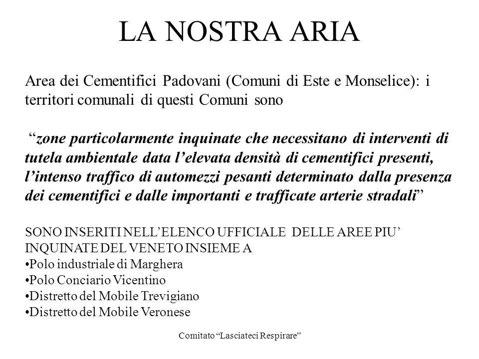 Comitato Lasciateci Respirare LA NOSTRA ARIA Area dei Cementifici Padovani (Comuni di Este e Monselice): i territori comunali di questi Comuni sono zo