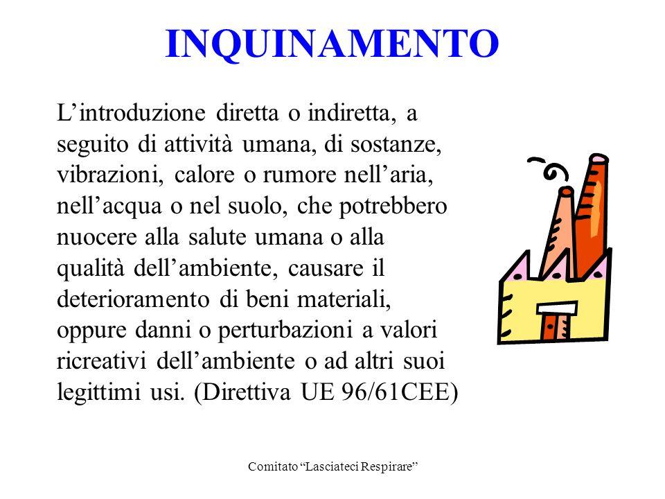 Comitato Lasciateci Respirare Lintroduzione diretta o indiretta, a seguito di attività umana, di sostanze, vibrazioni, calore o rumore nellaria, nella
