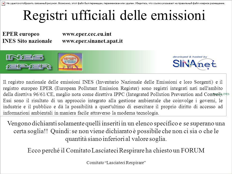 Comitato Lasciateci Respirare Registri ufficiali delle emissioni « Registro INES Il registro nazionale delle emissioni INES (Inventario Nazionale dell