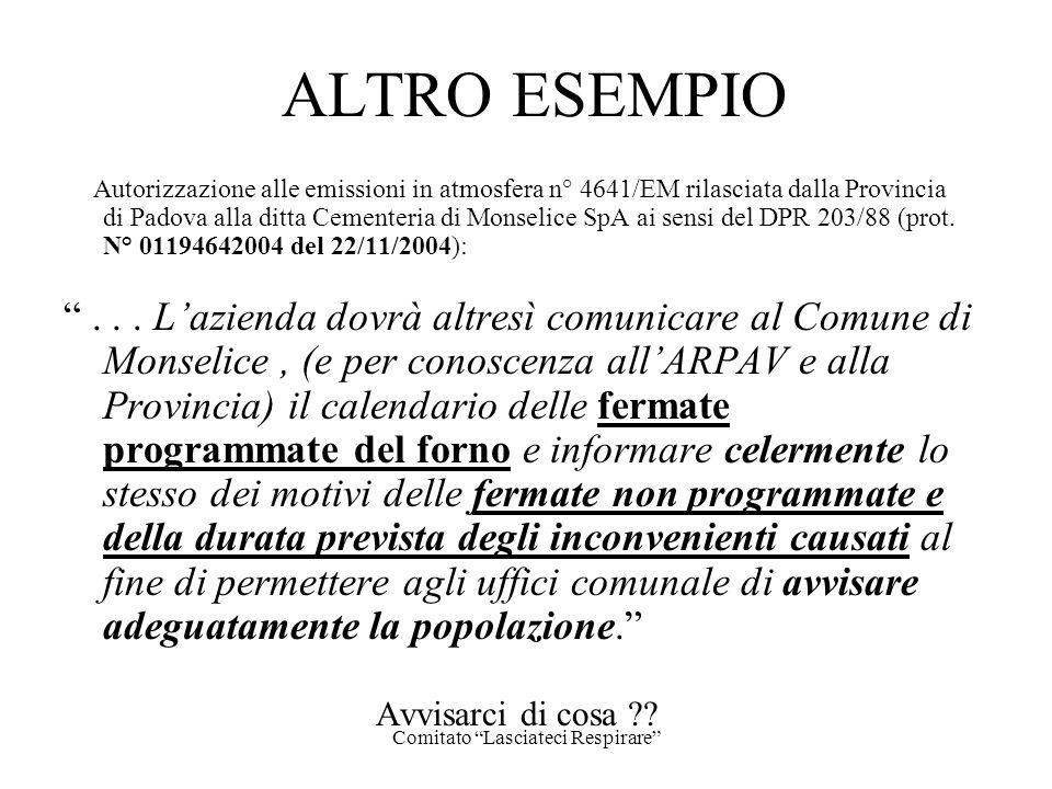 Comitato Lasciateci Respirare ALTRO ESEMPIO Autorizzazione alle emissioni in atmosfera n° 4641/EM rilasciata dalla Provincia di Padova alla ditta Ceme