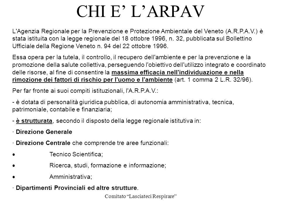 Comitato Lasciateci Respirare CHI E LARPAV L'Agenzia Regionale per la Prevenzione e Protezione Ambientale del Veneto (A.R.P.A.V.) è stata istituita co