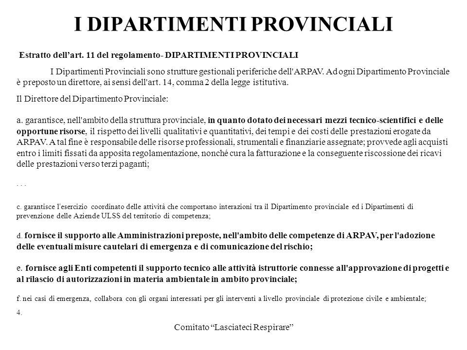 Comitato Lasciateci Respirare I DIPARTIMENTI PROVINCIALI Estratto dellart. 11 del regolamento- DIPARTIMENTI PROVINCIALI I Dipartimenti Provinciali son