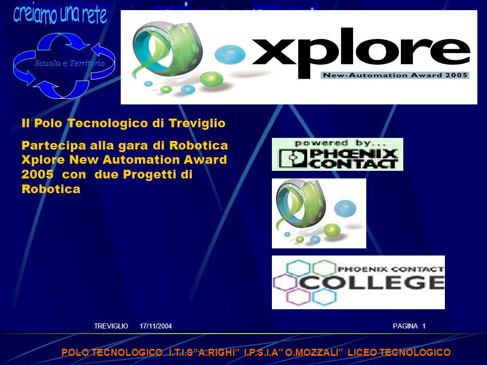 TREVIGLIO 17/11/2004 POLO TECNOLOGICO I.T.I.SA.RIGHI I.P.S.I.A O.MOZZALI LICEO TECNOLOGICO PAGINA 1 Il Polo Tecnologico di Treviglio Partecipa alla gara di Robotica Xplore New Automation Award 2005 con due Progetti di Robotica Scuola e Territorio