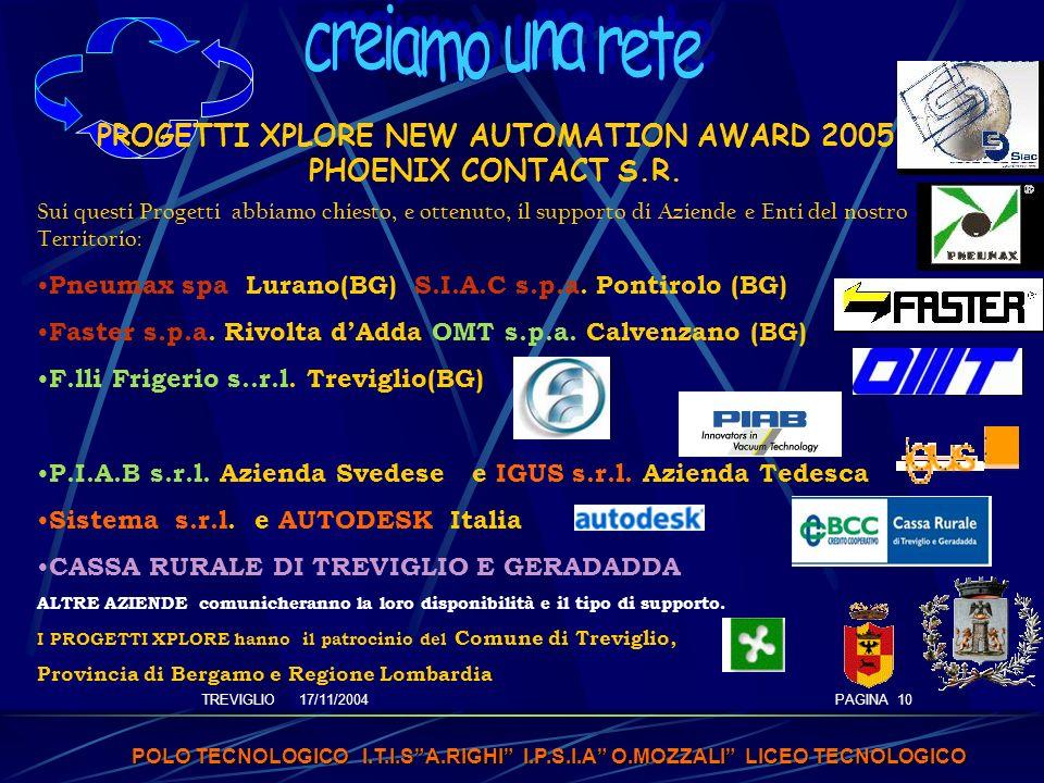 TREVIGLIO 17/11/2004 POLO TECNOLOGICO I.T.I.SA.RIGHI I.P.S.I.A O.MOZZALI LICEO TECNOLOGICO PAGINA 10 PROGETTI XPLORE NEW AUTOMATION AWARD 2005 PHOENIX CONTACT S.R.