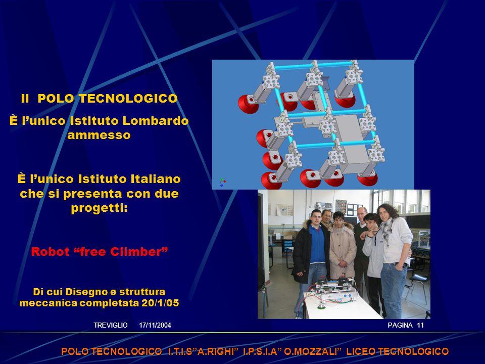 TREVIGLIO 17/11/2004 POLO TECNOLOGICO I.T.I.SA.RIGHI I.P.S.I.A O.MOZZALI LICEO TECNOLOGICO PAGINA 11 Il POLO TECNOLOGICO È lunico Istituto Lombardo ammesso È lunico Istituto Italiano che si presenta con due progetti: Robot free Climber Di cui Disegno e struttura meccanica completata 20/1/05