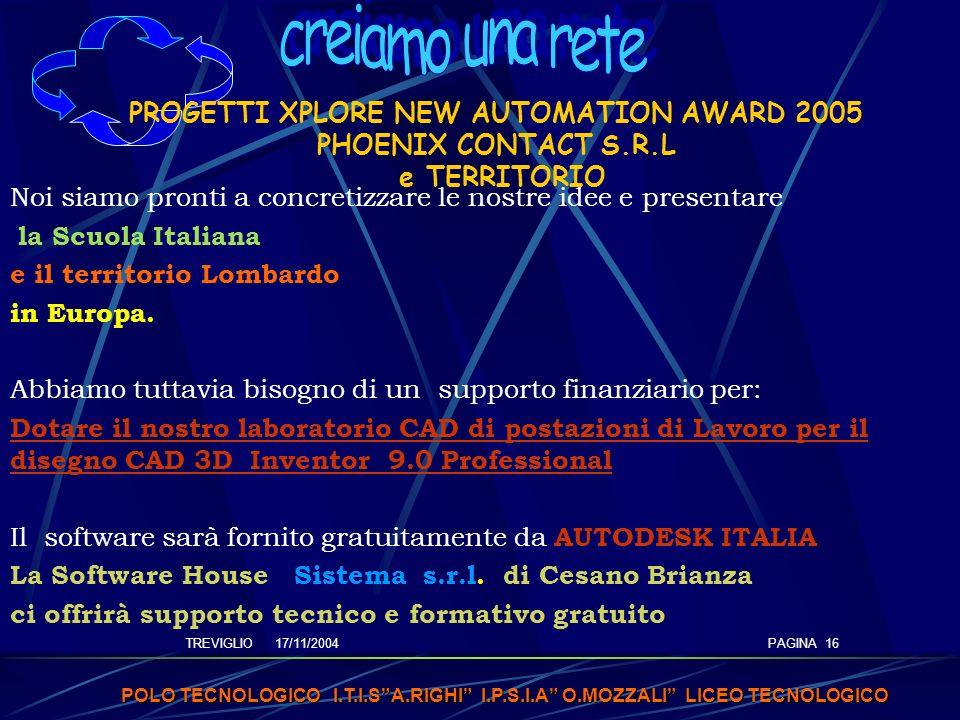 TREVIGLIO 17/11/2004 POLO TECNOLOGICO I.T.I.SA.RIGHI I.P.S.I.A O.MOZZALI LICEO TECNOLOGICO PAGINA 16 PROGETTI XPLORE NEW AUTOMATION AWARD 2005 PHOENIX CONTACT S.R.L e TERRITORIO Noi siamo pronti a concretizzare le nostre idee e presentare la Scuola Italiana e il territorio Lombardo in Europa.