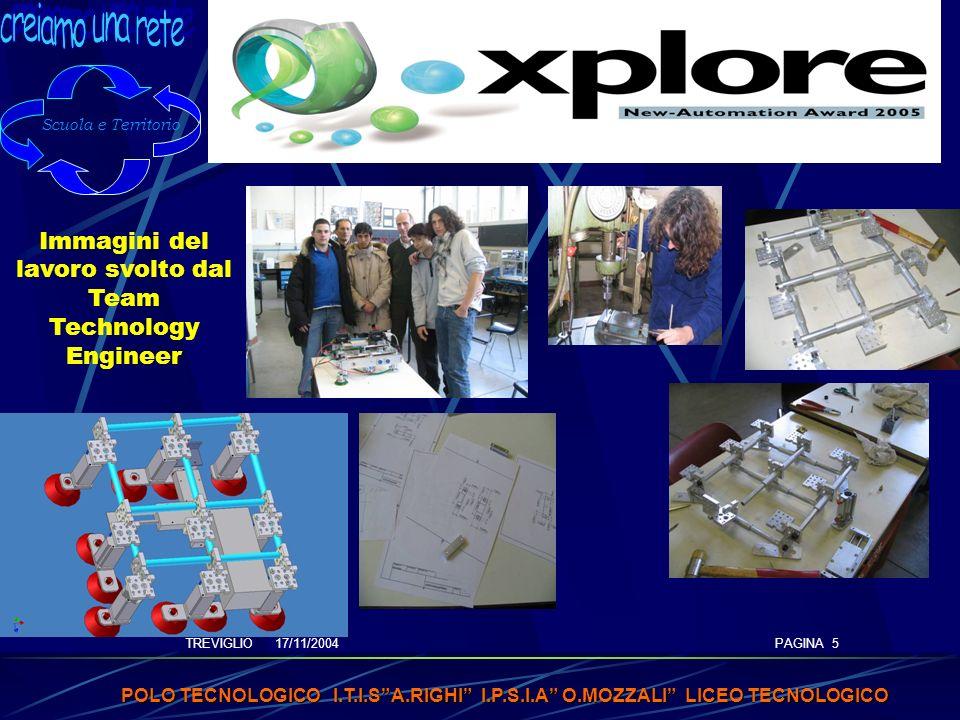 TREVIGLIO 17/11/2004 POLO TECNOLOGICO I.T.I.SA.RIGHI I.P.S.I.A O.MOZZALI LICEO TECNOLOGICO PAGINA 5 Immagini del lavoro svolto dal Team Technology Engineer Scuola e Territorio