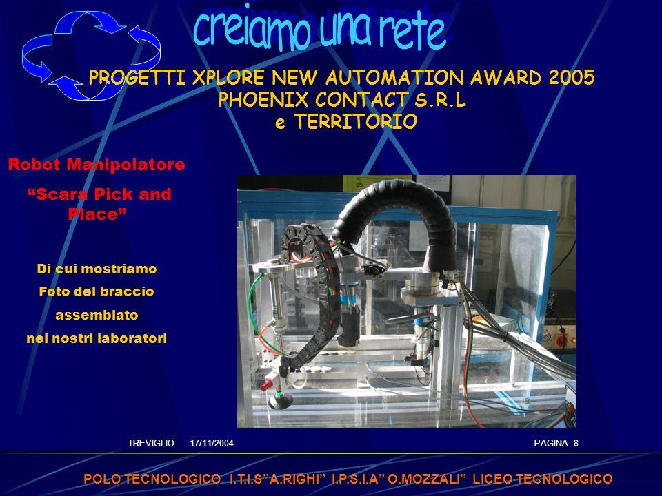 TREVIGLIO 17/11/2004 POLO TECNOLOGICO I.T.I.SA.RIGHI I.P.S.I.A O.MOZZALI LICEO TECNOLOGICO PAGINA 8 PROGETTI XPLORE NEW AUTOMATION AWARD 2005 PHOENIX CONTACT S.R.L e TERRITORIO Robot Manipolatore Scara Pick and Place Di cui mostriamo Foto del braccio assemblato nei nostri laboratori